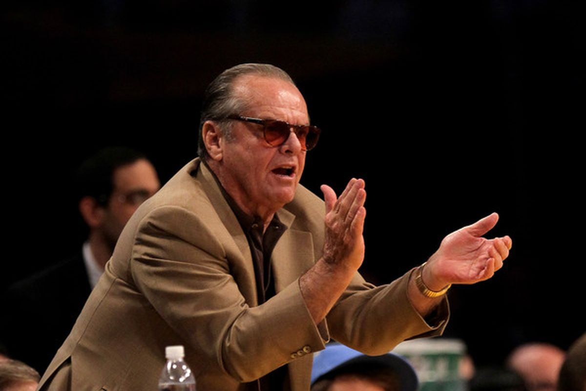 BAH! GO AWAY JACK NICHOLSON! (Actually, you can stay, but purely because I want to see your face when we win.) (Photo by Stephen Dunn/Getty Images)
