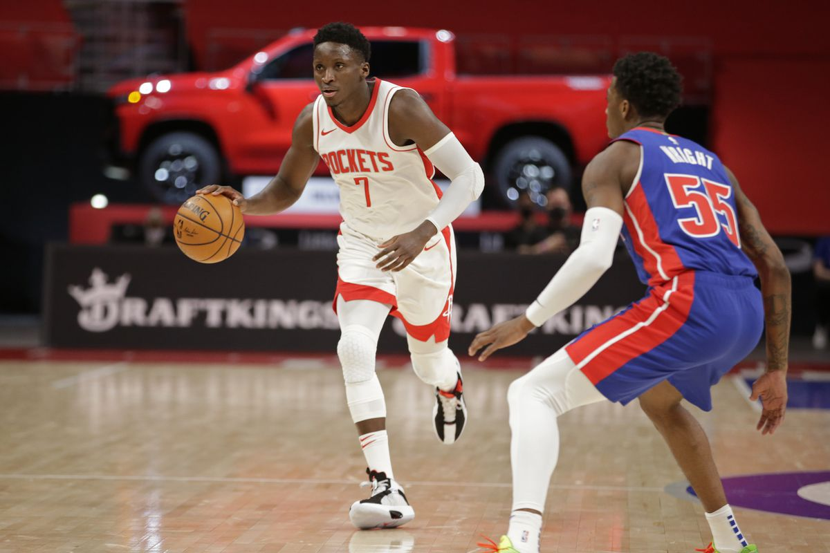 Victor Oladipo of the Houston Rockets dribbles the ball against the Detroit Pistons on January 22, 2021 at Little Caesars Arena in Detroit, Michigan.