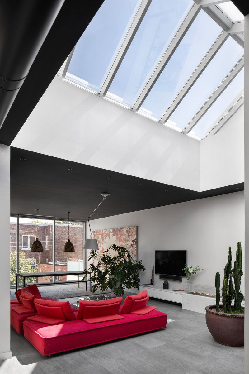 Row of skylights in living room.