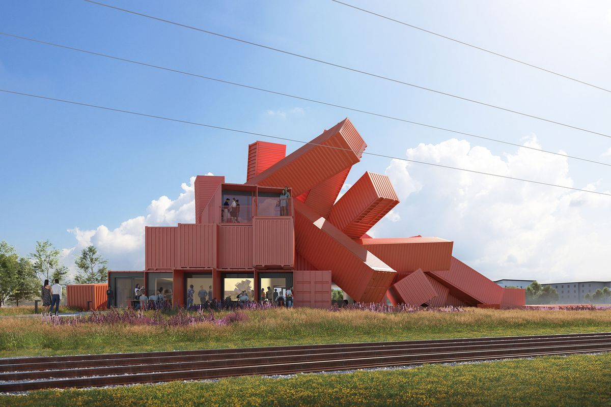 Rendering of shipping container building.