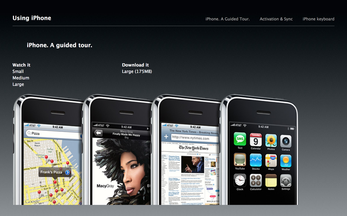 Apple has to teach people how to use an iphone again the verge an internet archive capture of the old guided tour section for apples original iphone in 2007 baditri Choice Image