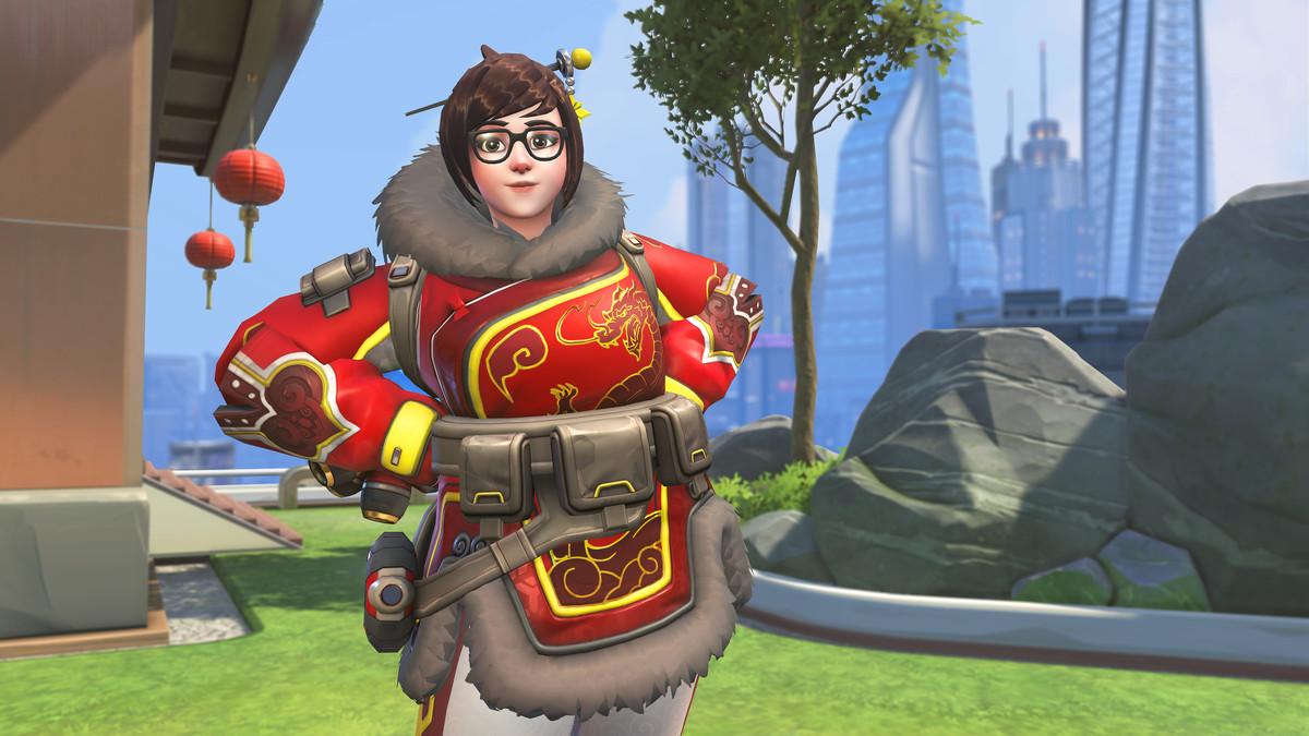 Overwatch hero Mei standing with her hands on her hips