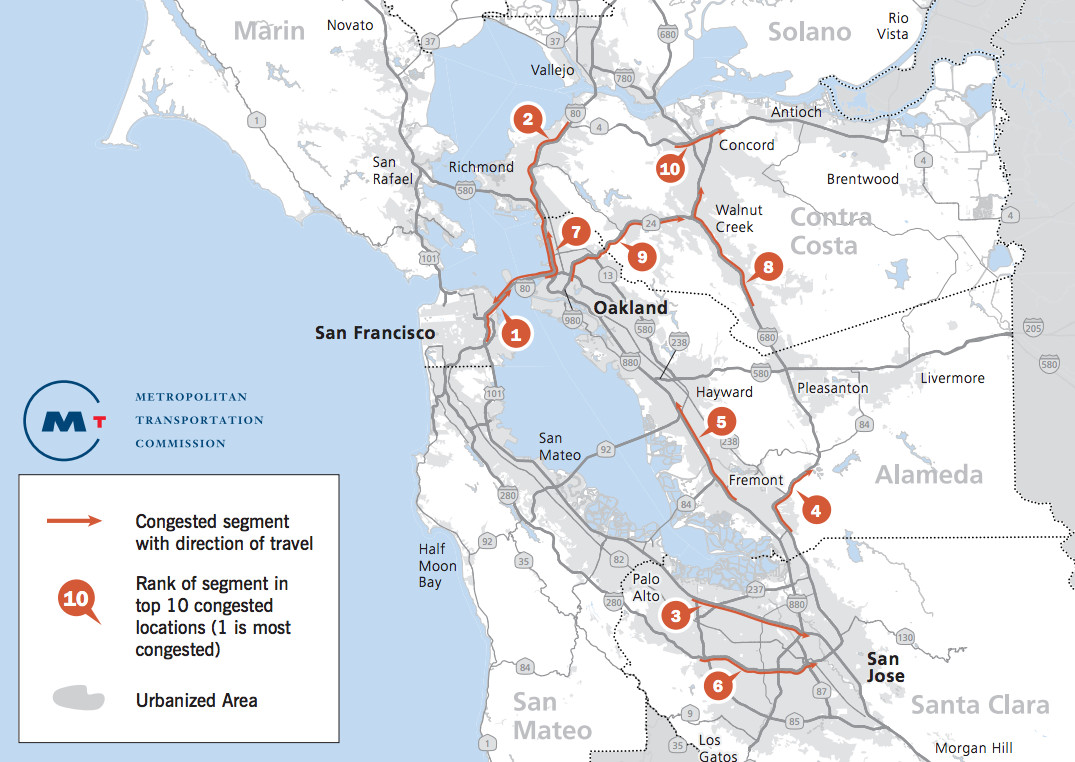 Bay Area Freeway Locations with Most Weekday Traffic Congestion, 2016.