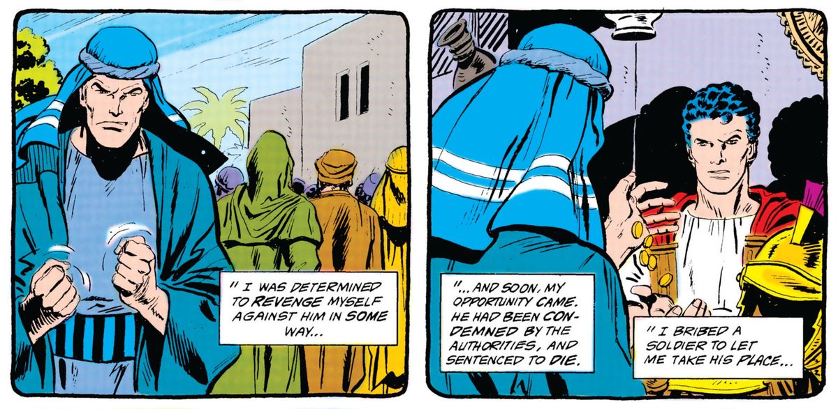 The Phantom Stranger, while still a mortal, seethes in anger at Jesus Christ, and bribes a Roman soldier to let him take his place, in Secret Origins #10, DC Comics (1987).