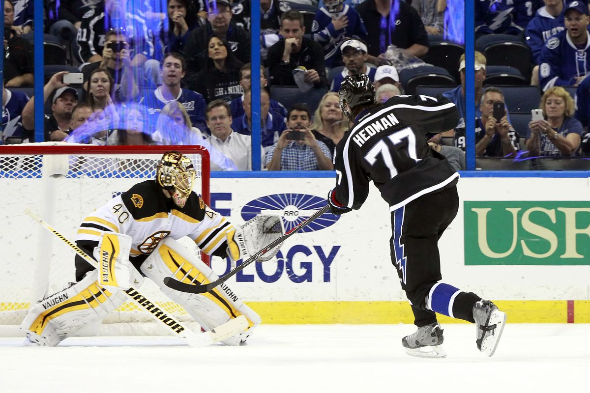 Tampa Bay's Victor Hedman scores the lone shootout goal to seal the Lightning's 3-2 win over the Boston Bruins Saturday night in Tampa.