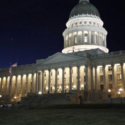 Outside the Capitol at dusk in Salt Lake City on Monday, March 9, 2015.