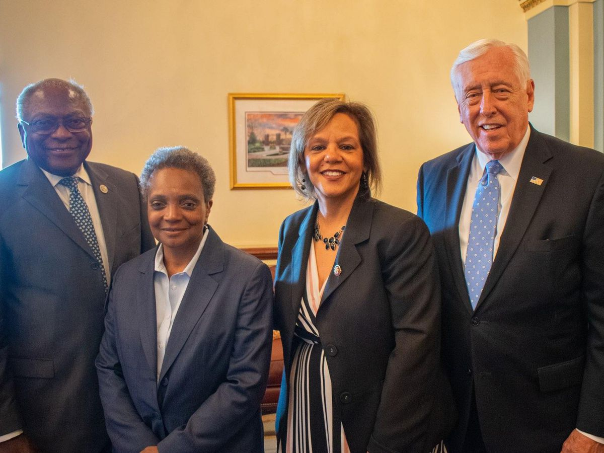 """Mayor-elect Lori Lightfoot also met with other House leaders Tuesday, including (left) Rep. James Clyburn, D-S.C., and Rep. Steny Hoyer, D-Md., joined by an early endorser, Rep. Robin Kelly, D-Ill. Said Kelly, """"I want her to meet the leadership. It's impo"""