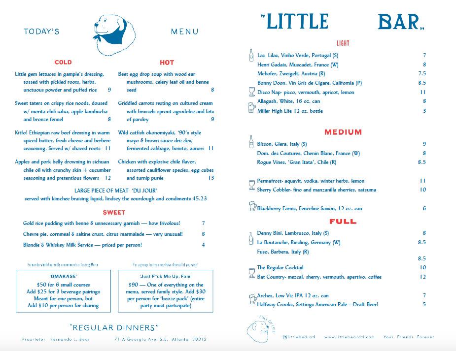 The food menu for Little Bear in Summerhill Atlanta
