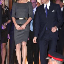 At a reception with husband Price William on April 26th, 2012 in a charcoal Amanda Wakeley dress, Alexander McQueen belt, and Jimmy Choo shoes. Her clutch is by Anya Hindmarch.