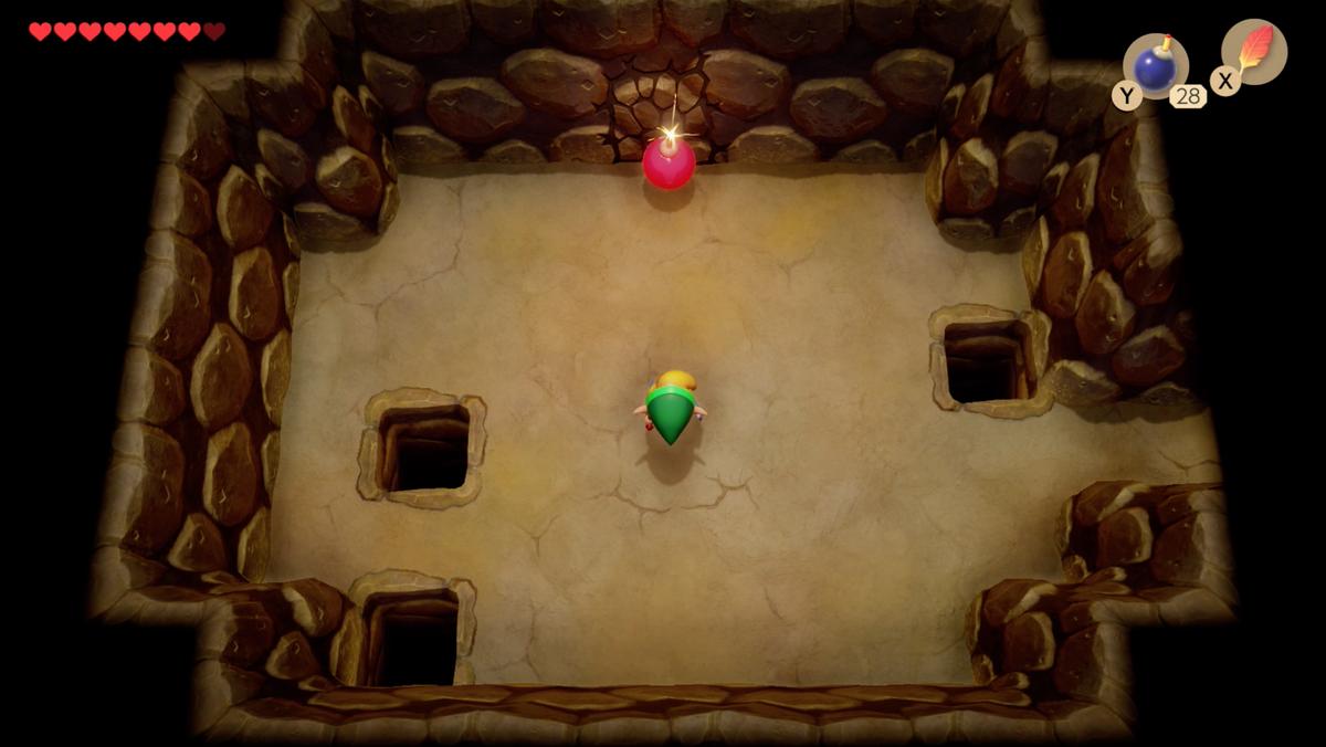 Link's Awakening Yarna Desert bomb wall under the Lanmola