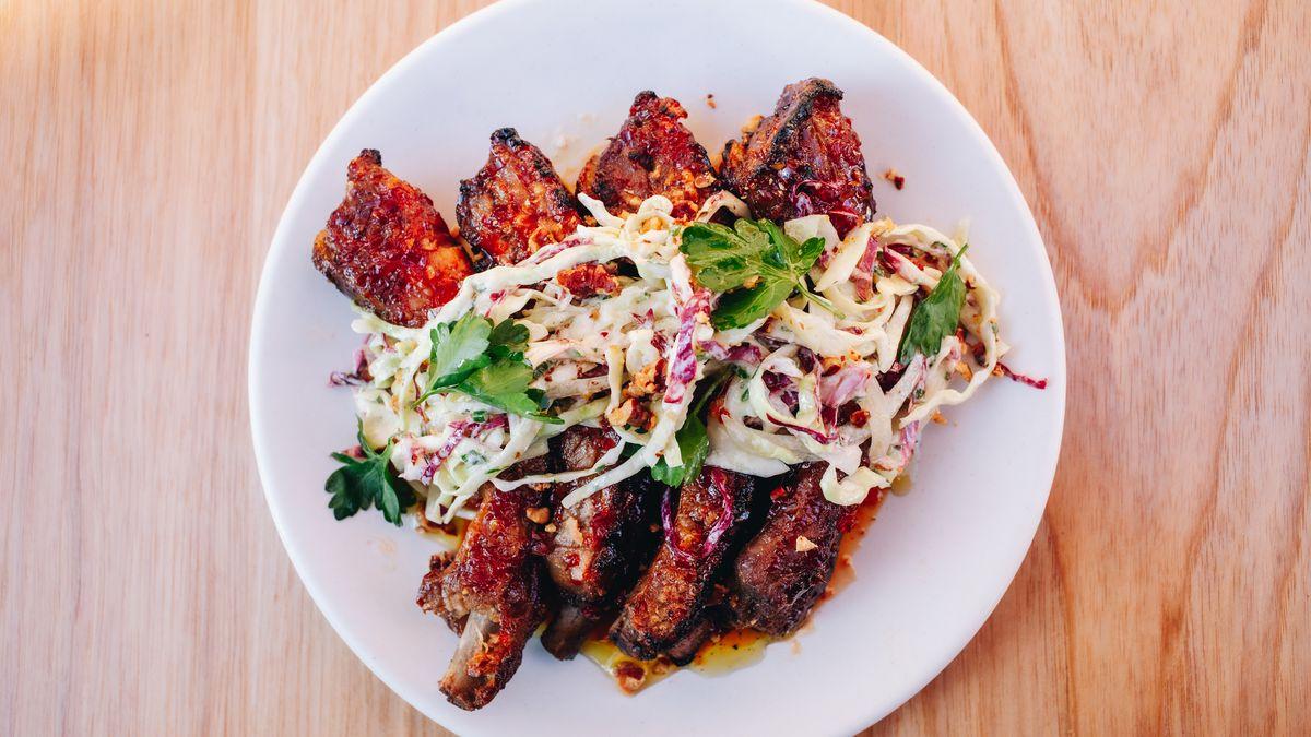 A plate of pork ribs.