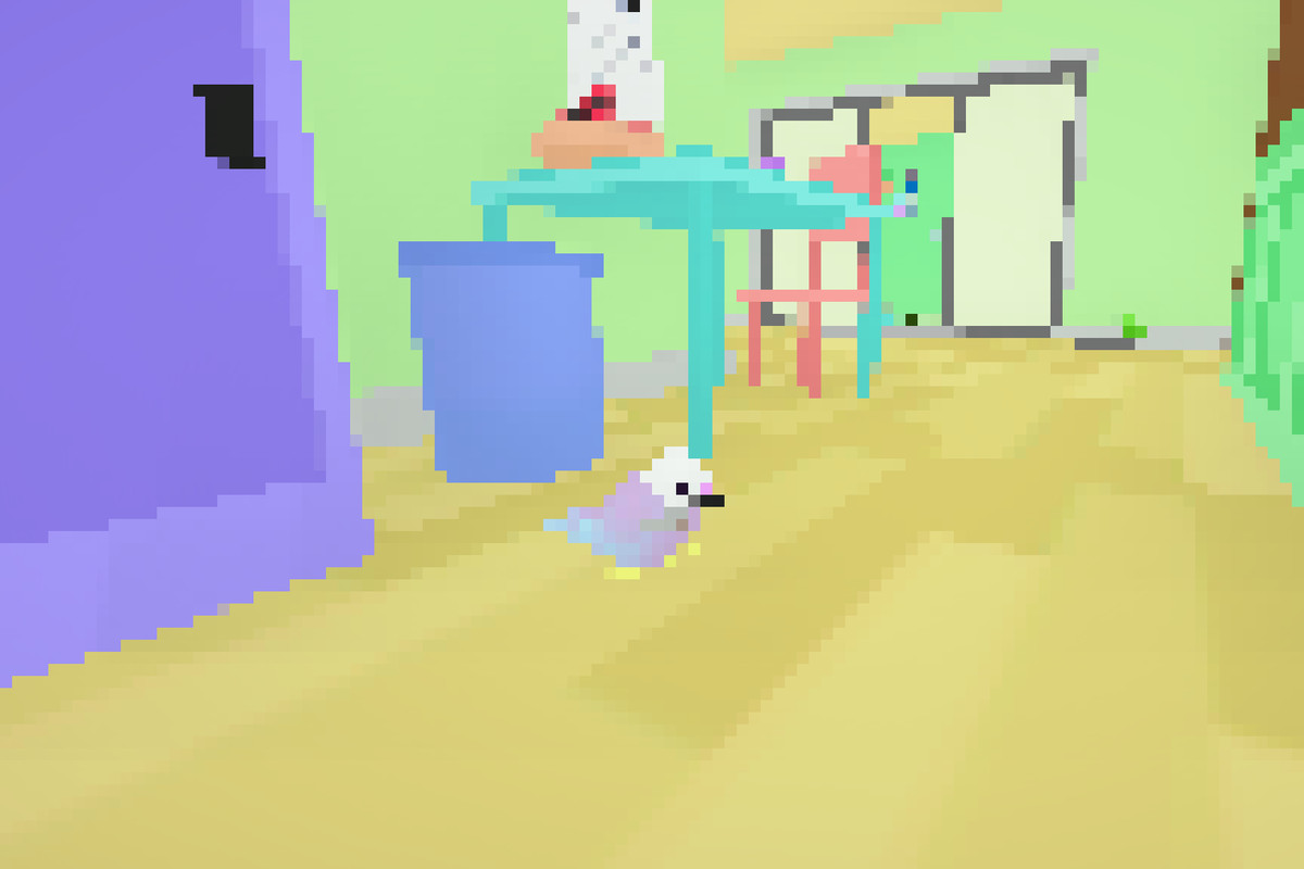 A bird in Toripon 鳥ポン carrying a knife. In the background, a bird is riding a Roomba.