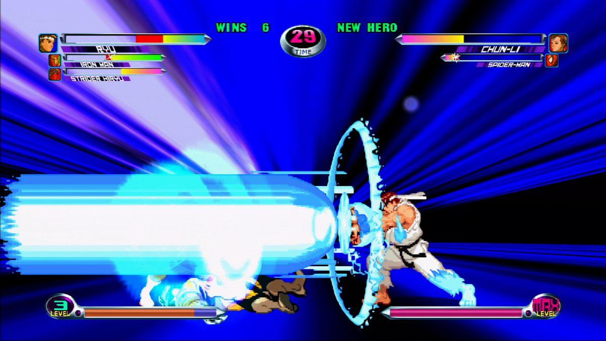 Ryu attacks in Marvel vs Capcom 2