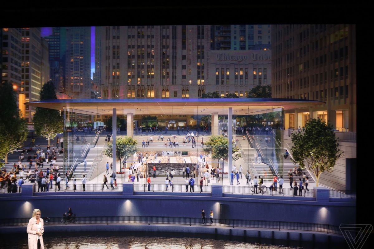Chicagos New Apple Store On Michigan Avenue Will Open In October - New apple store in chicago will have a giant macbook as its roof