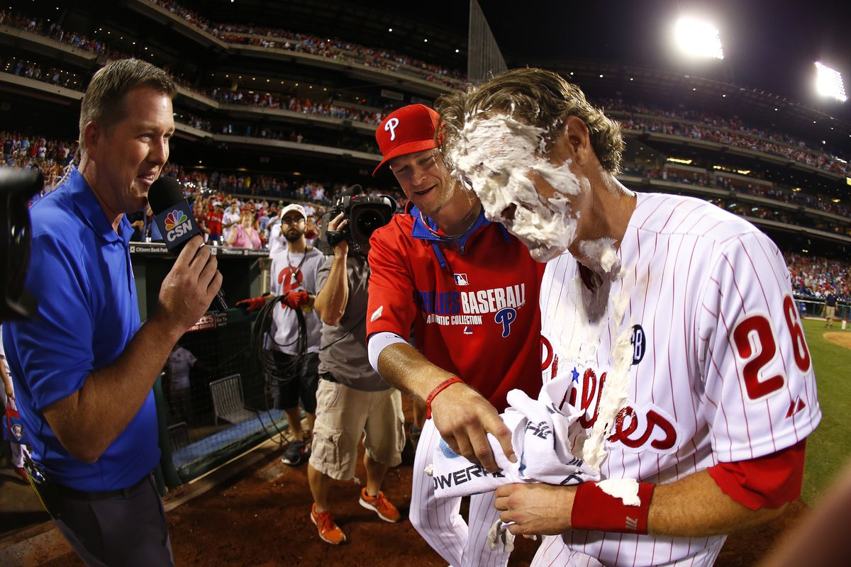 He's handsome even when he's covered in walk-off pie.