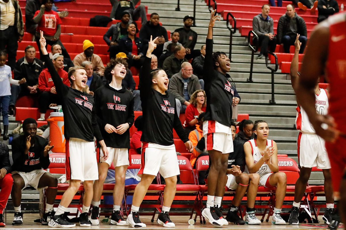 Bolingbrook's bench celebrates during the game against Homewood-Flossmoor.