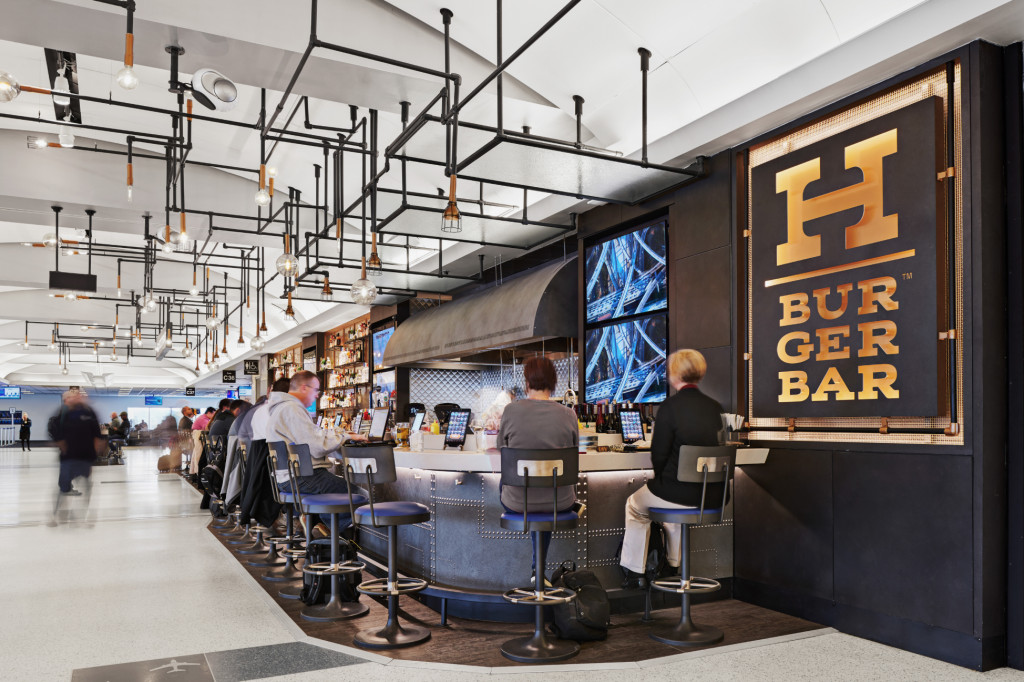 The exterior of H Burger Bar at George Bush Intercontinental Airport in Houston
