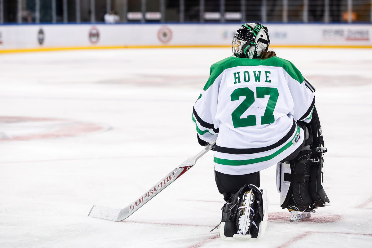 Erica Howe kneels on the ice in full goalie gear with her back to the camera.