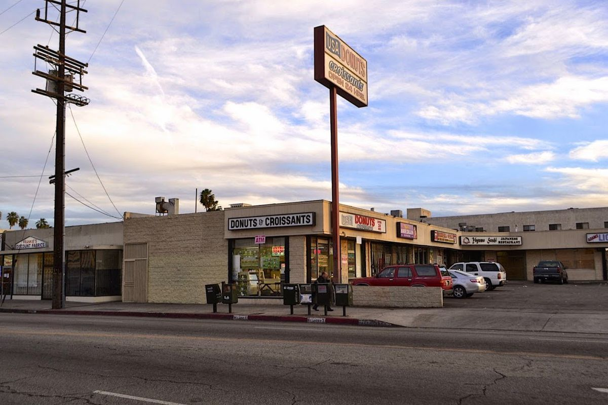 Strip mall with donut shop