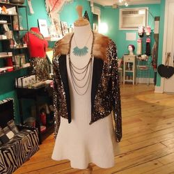 The addition of this sequin blazer ($196) by Pinkyotto takes the dress from casual to fab.
