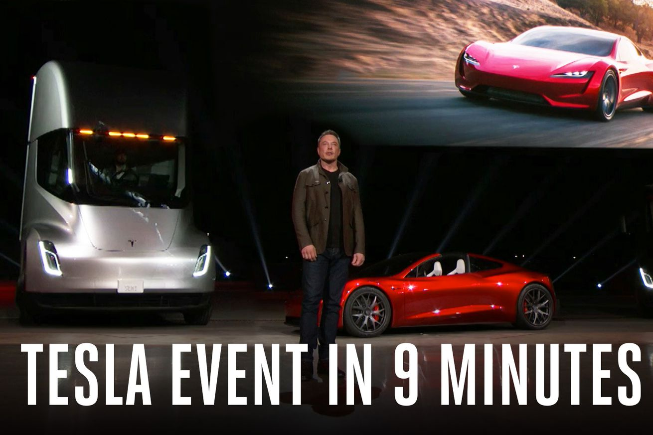 watch this supercut of elon musk unveiling tesla s new semi truck and roadster
