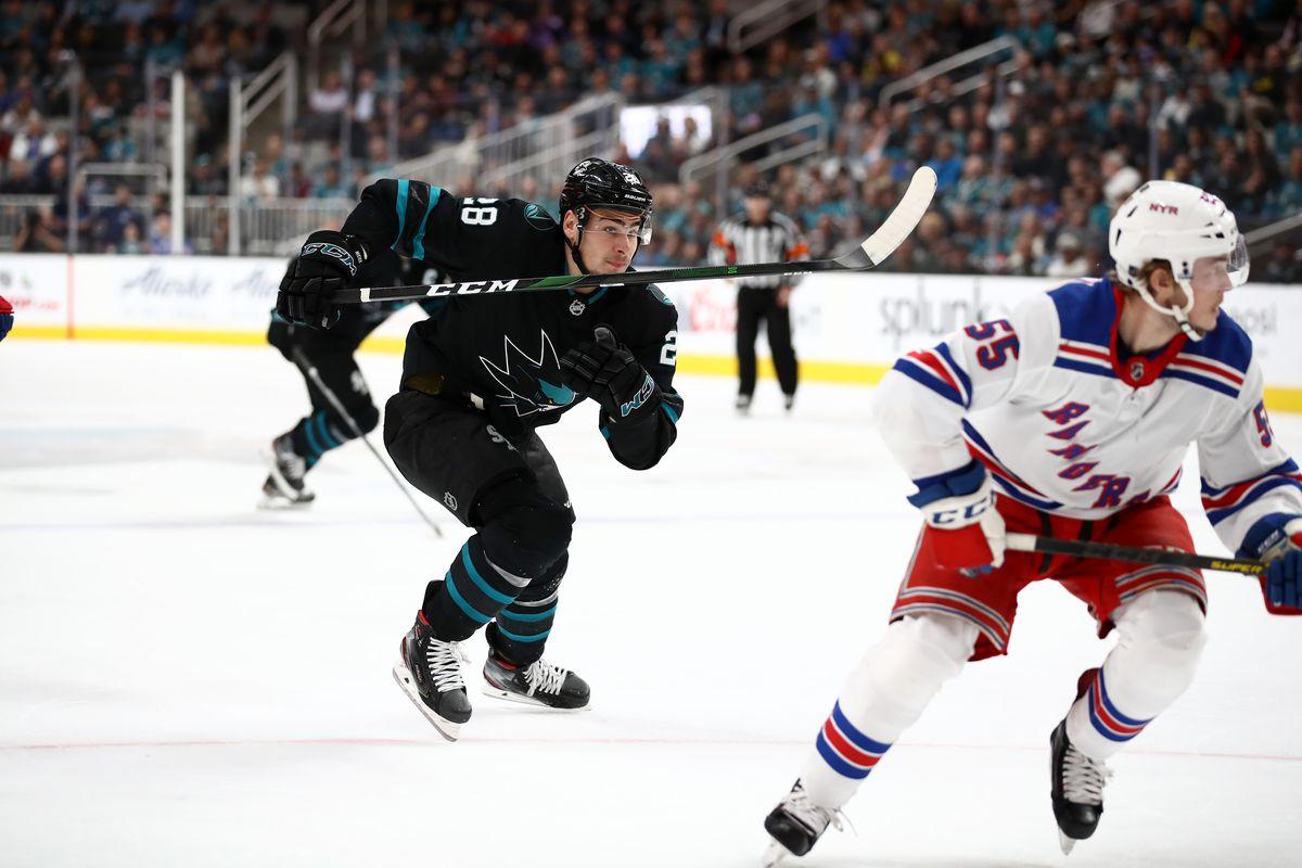 SAN JOSE, CALIFORNIA - DECEMBER 12: Timo Meier #28 of the San Jose Sharks in action against the New York Rangers at SAP Center on December 12, 2019 in San Jose, California.