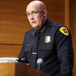 Salt Lake Police Chief Mike Brown discusses on Sunday, Jan. 5, 2020, the actions taken late Saturday and early Sunday to clear protesters camping at Washington Square in Salt Lake City where 17 people were arrested.