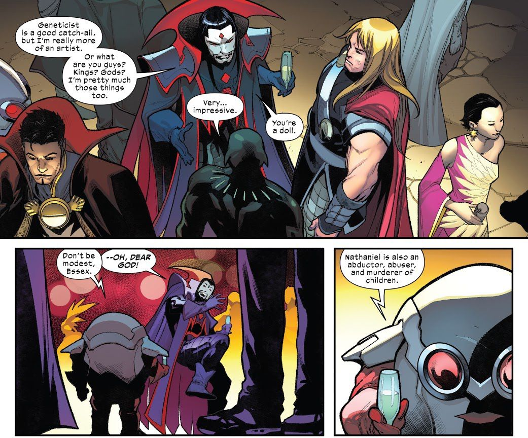 Mister Sinister egoistically tries to get along with Saw and Black Panther.