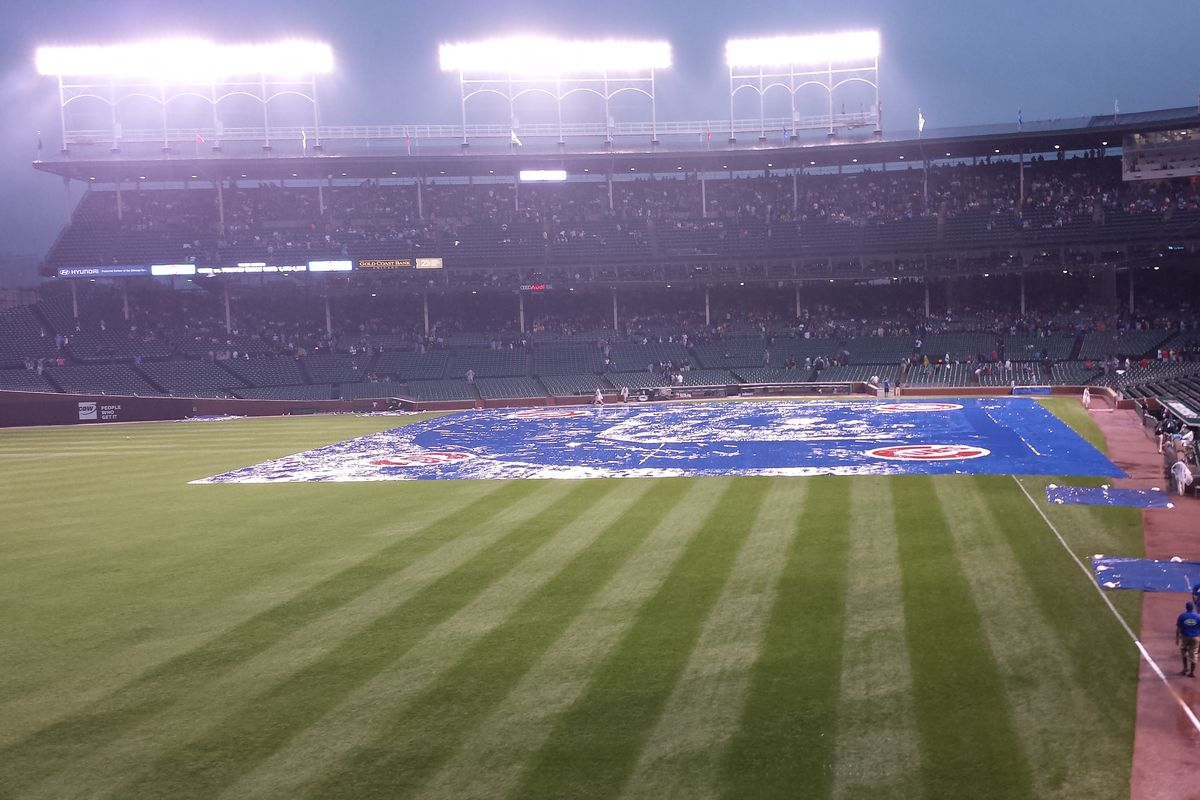 It rained a lot Saturday before the game started.