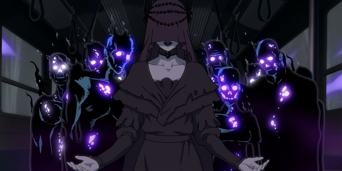 A veiled woman in deep purple stands in front of a crowd of seething, purple-eyed black humanoid creatures in Trese