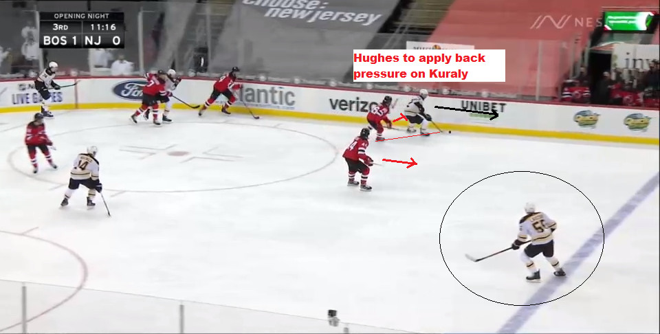 Part 5: Jack Hughes applies back pressure on Kuraly, who probably wished he passed the puck to Lauzon here.