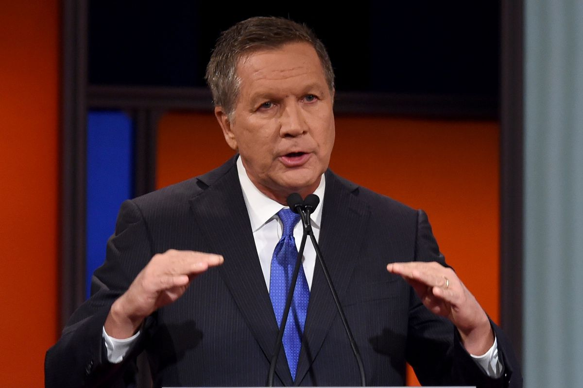Republican presidential candidate Ohio Gov. John Kasich gestures during the Republican presidential debate sponsored by Fox Business and the Republican National Committee in Charleston, South Carolina, on January 14, 2016.