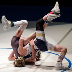 Westlake's Brayden Robison, right, beats Layton's Jace Lemons in the 106-pound finals match at the 6A wrestling state championship at Corner Canyon High School in Draper on Friday, Feb. 19, 2021.