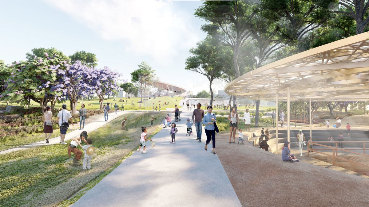 A rendering of a park and shade structure.
