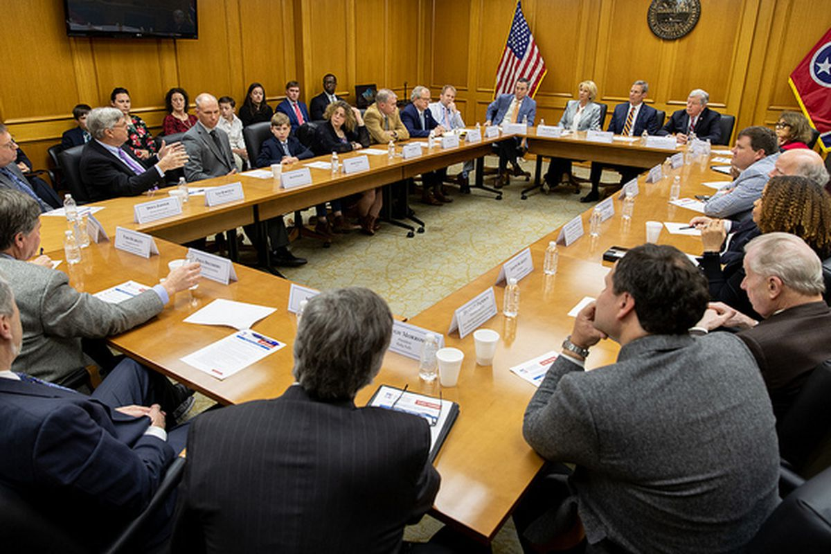 U.S. Secretary of Education Betsy DeVos and Gov. Bill Lee lead a roundtable discussion on school choice Monday at the state Capitol in Nashville. (Photo courtesy of the U.S. education department)