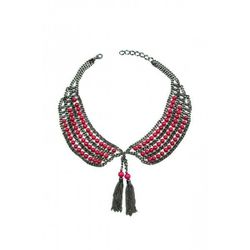 """<strong>Pink Riverstone Collar</strong> Necklace Magdalena Stokalska Jewelry, <a href=""""http://wickedpeacock.com/index.php/pink-pearl-collar-necklace-with-fringe.html"""">$196</a>"""