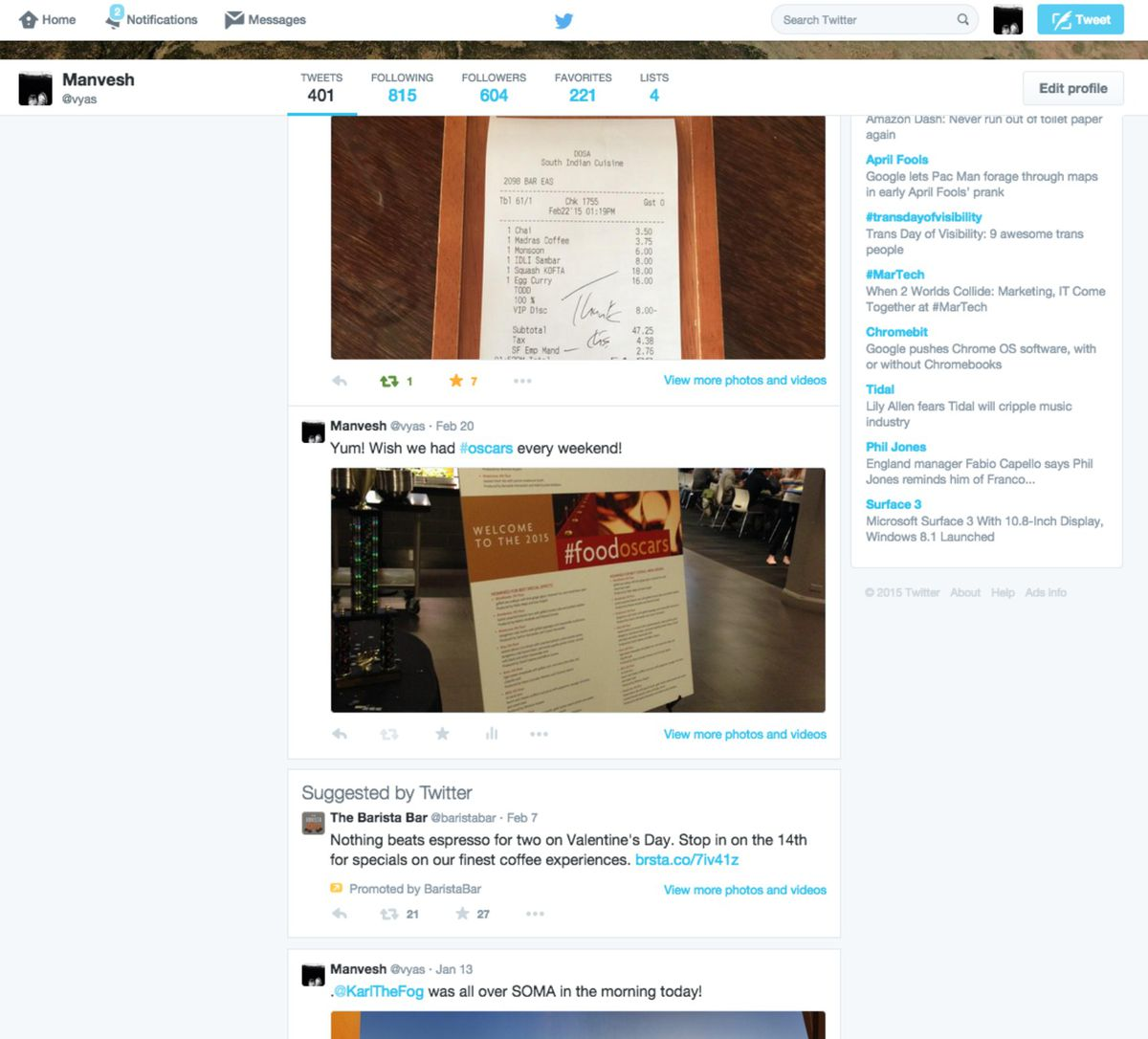 Twitter is now showing promoted tweets within the streams on user profiles.