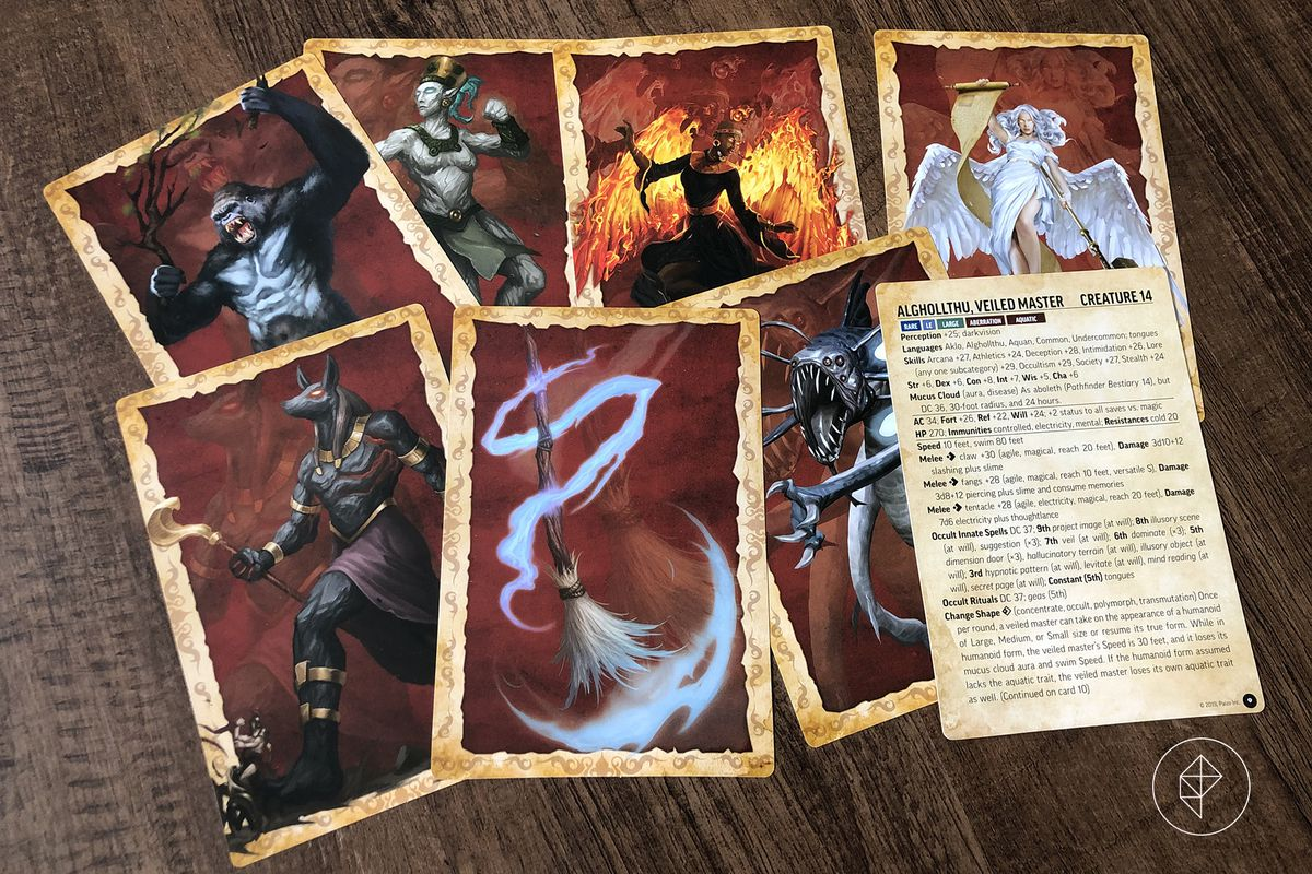 A handful of Bestiary Battle Cards showing full-page art from the Paizo Bestiary.