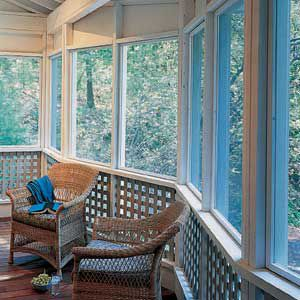 <p>A shallow, angled bay adds some dimension to the front wall of the porch, and creates a small sitting area. The lattice inserts give the porch a greater sense of enclosure and protect the bottom panels of screening.</p>