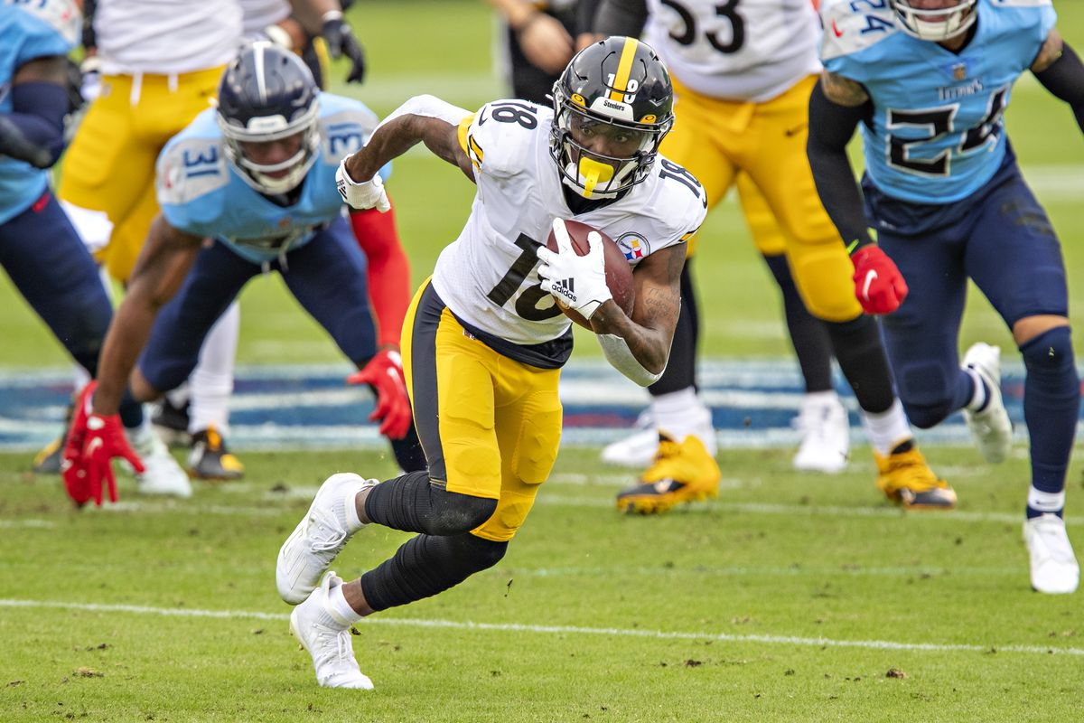 Diontae Johnson #18 of the Pittsburgh Steelers runs the ball after catching a pass during a game against the Tennessee Titans at Nissan Stadium on October 25, 2020 in Nashville, Tennessee. The Steelers defeated the Titans 27-24.