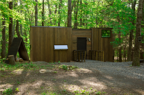 A rectangular wooden cabin in a clearing surrounded by trees.
