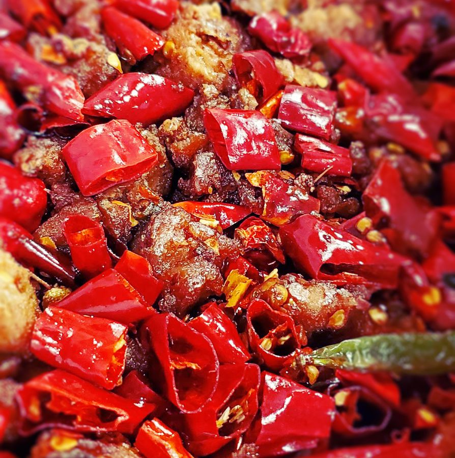 Bits of chicken are seen surrounded but diced peppers