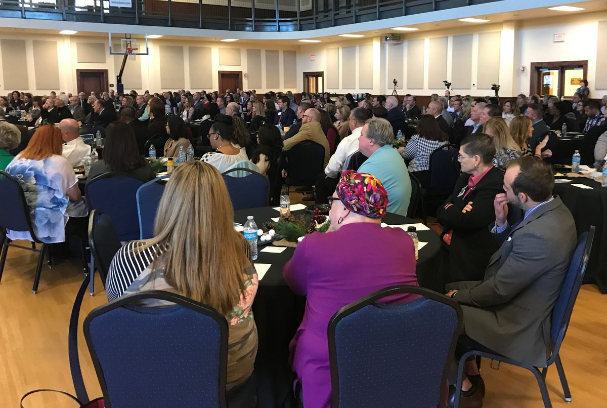 """Church leaders in Texas gather for a 2018 """"celebration of public education"""" at the Polk Street United Methodist Church of Amarillo. The event was organized by Pastors for Texas Children."""