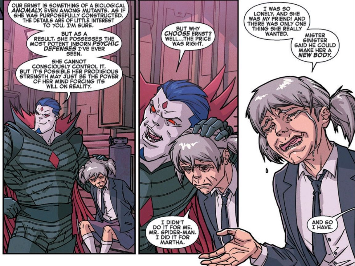 Ernst tearfully explains her reasoning for betraying the X-Men's DNA to Mister Sinister — she just wanted to help her friend — in Spider-Man and the X-Men #6, Marvel Comics (2015).