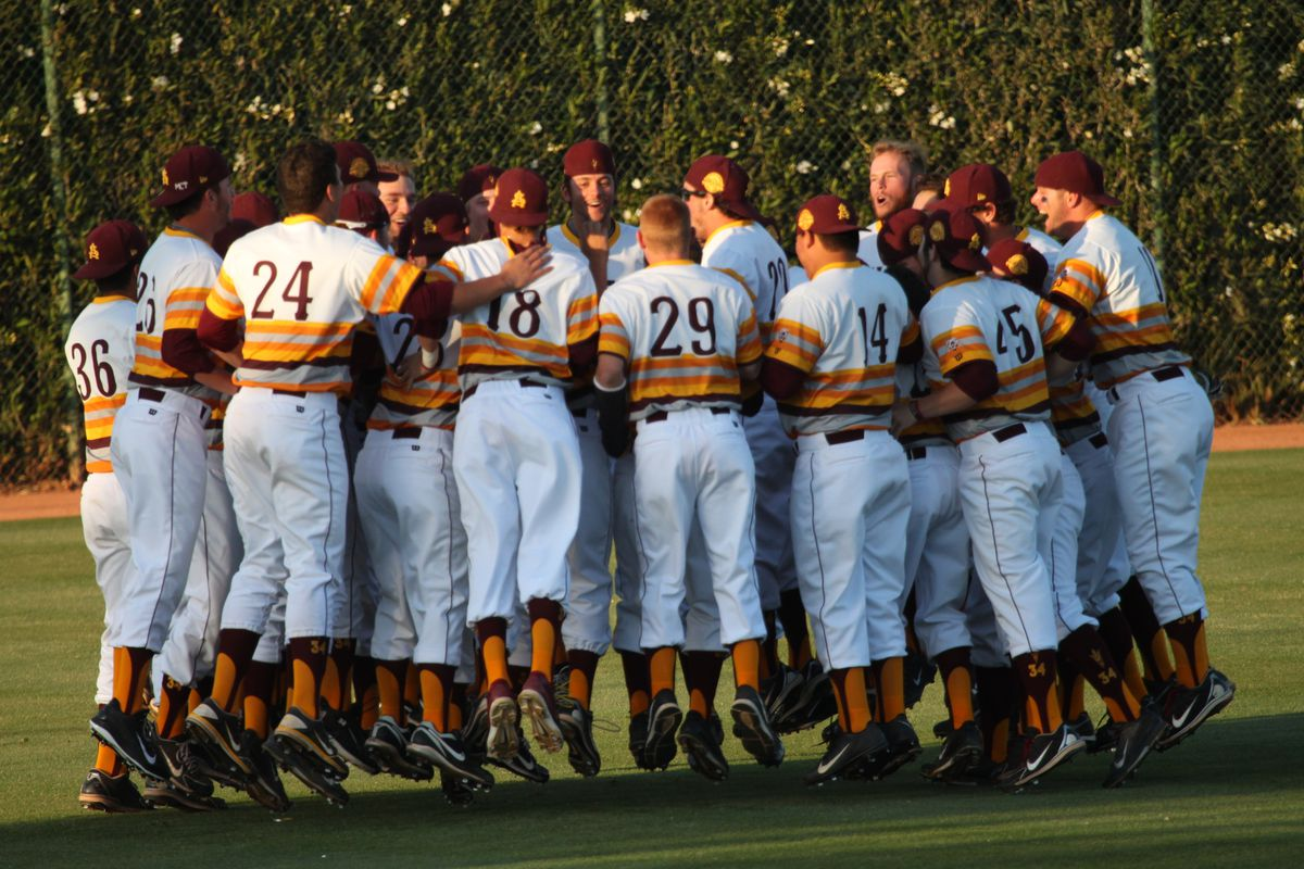 The ASU baseball team huddles together before their game against USC on April 5, 2014