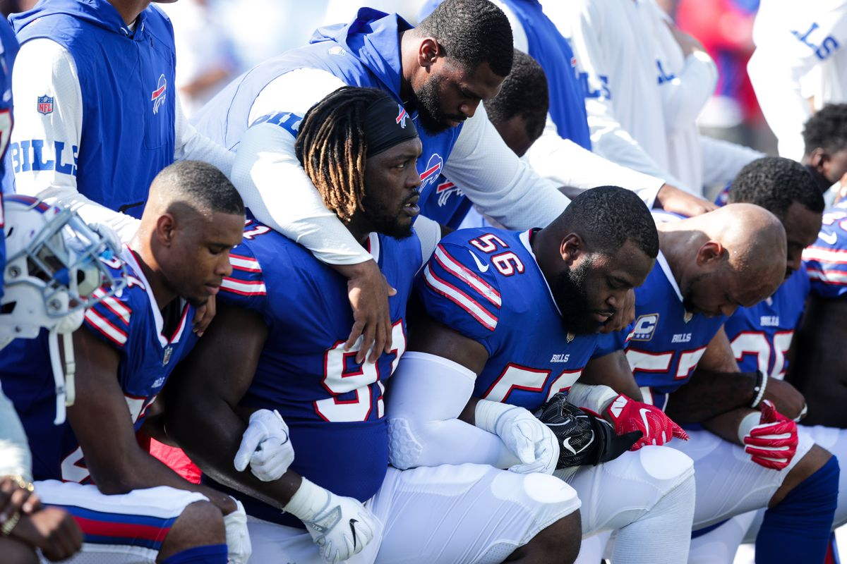 7aa2121f7 Players for the Buffalo Bills kneel during the national anthem at their  game on Sunday