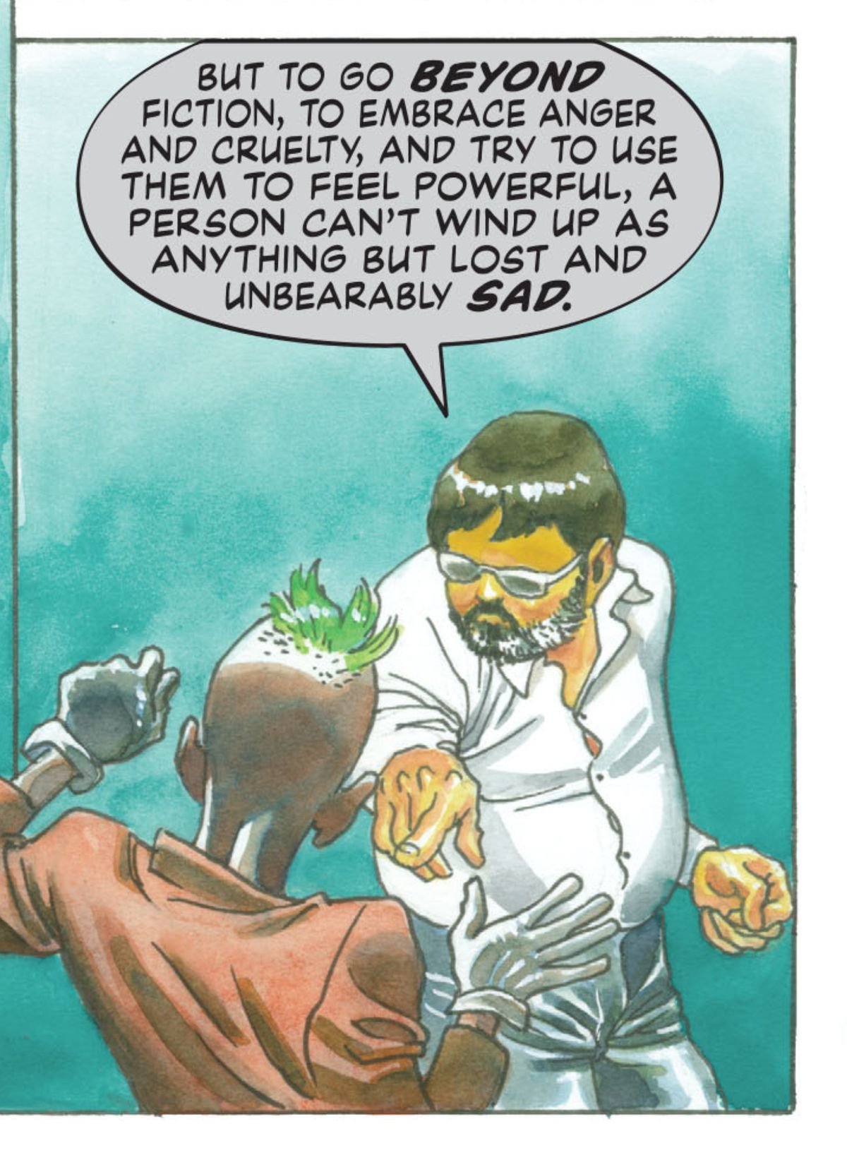 """""""But to go beyond fiction, to embrace anger and cruelty, and try to use them to feel powerful, a person can't wind up as anything but lost and unbearably sad,"""" says Paul Dini to the Joker in Dark Night: A True Batman Story, DC Comics (2016)."""