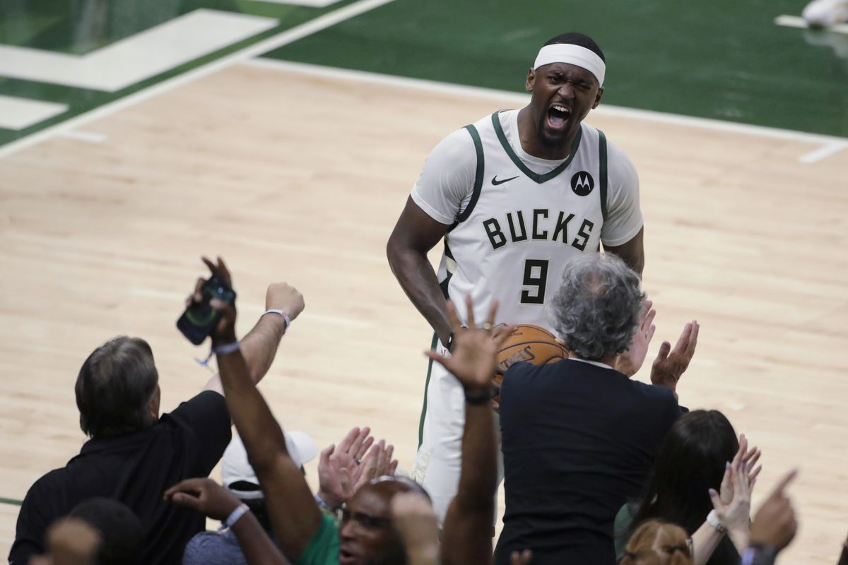 The Bucks' Bobby Portis yells to the crowd during Game 5 of the NBA Eastern Conference Finals Thursday night. The Bucks beat the Hawks 123-112 and took a 3-2 lead in the series.