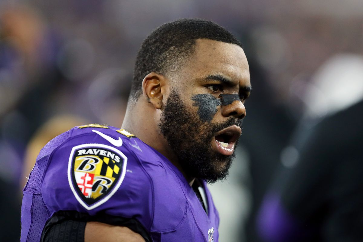 Mark Ingram II of the Baltimore Ravens reacts on the sideline during the AFC Divisional Playoff game against the Tennessee Titans at M&T Bank Stadium on January 11, 2020 in Baltimore, Maryland.