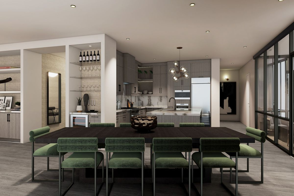 A rendering of a white wet bar and kitchen with dark wood cabinets.